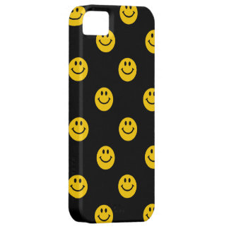 Yellow Smiley Face Pattern on Black iPhone 5 Case