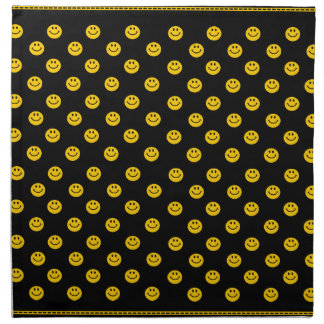 Yellow Smiley Face Pattern on Black Napkin