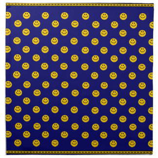 Yellow Smiley Face Pattern on dark blue Napkin