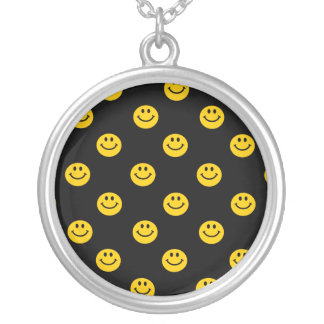 Yellow Smiley Face Pattern Silver Plated Necklace