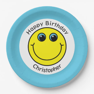 Yellow Smiley Face Personalized Birthday Party 9 Inch Paper Plate