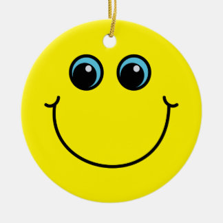 Yellow Smiley Face Round Ceramic Decoration