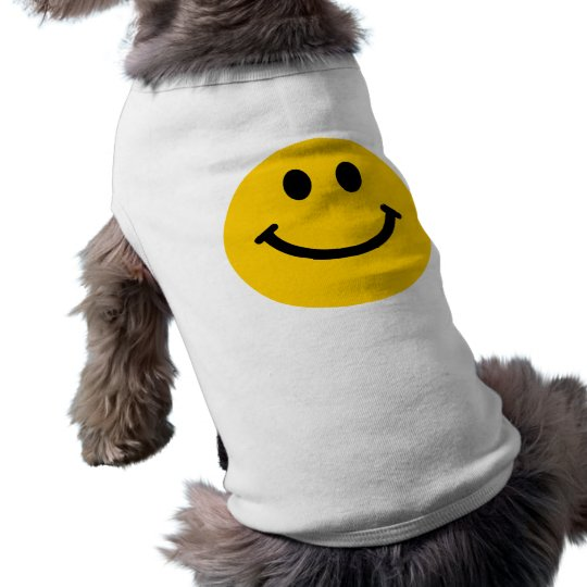 Yellow Smiley Face Sleeveless Dog Shirt