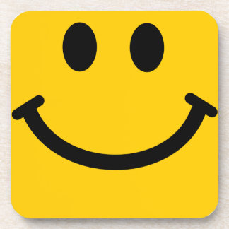 Yellow Smiley Face Square Coaster