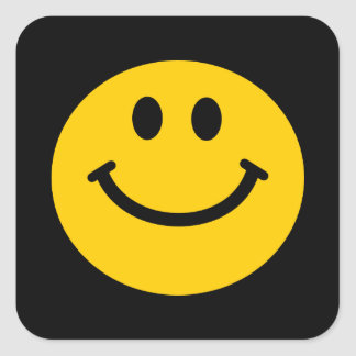 Yellow Smiley Face Square Sticker