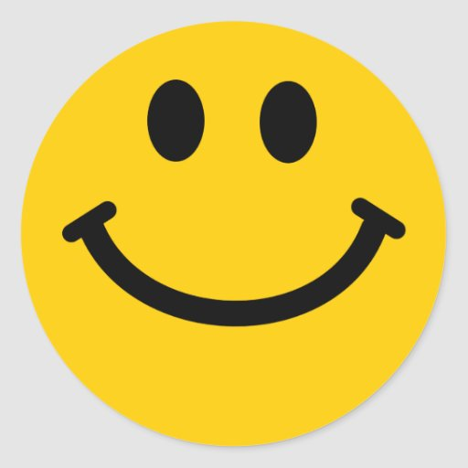 Yellow Smiley Face Round Sticker