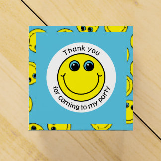 Yellow Smiley Face Thank You Party Favour Box