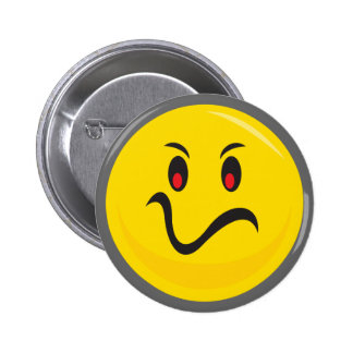 Yellow smiley face that is annoyed 6 cm round badge