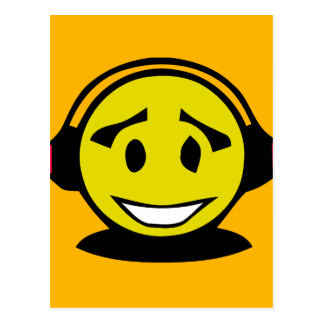 Yellow smiley face wearing headphones postcard