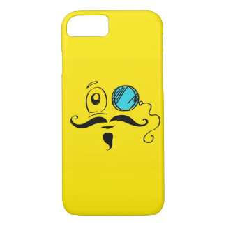 Yellow Smiley Face with Monocle and Mustache iPhone 7 Case