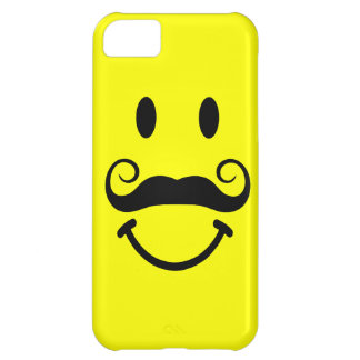 Yellow Smiley Face with Mustache iPhone 5 Case
