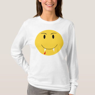 Yellow Smiley Face With Vampire Fangs Shirt