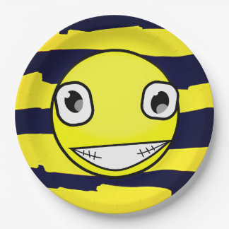 Yellow Smiley Face Yellow Black Stripes Party 9 Inch Paper Plate