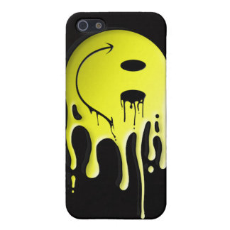 yellow smiley on black background iPhone 5 covers