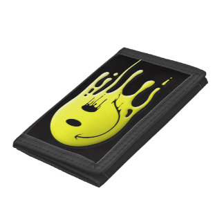 yellow smiley on black background tri-fold wallet
