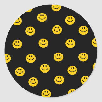 Yellow Smiley Polka Dot Pattern Classic Round Sticker