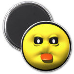 Yellow smiley sticking out tounge 6 cm round magnet