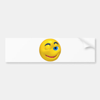 Yellow smiley that is winking bumper sticker