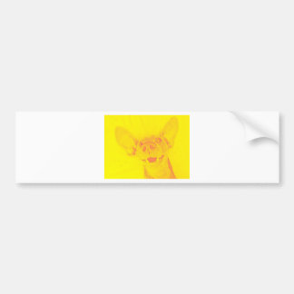 Yellow smiling doggy bumper sticker
