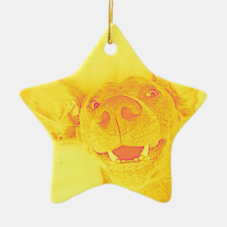 Yellow smiling doggy christmas ornament