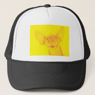 Yellow smiling doggy trucker hat