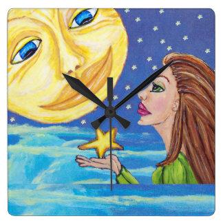 Yellow Smiling Moon Face Stars Fantasy Woman Wall Clock