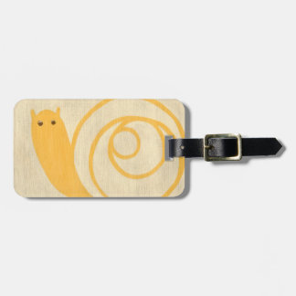 Yellow Snail on Cream Background Luggage Tag