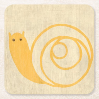 Yellow Snail on Cream Background Square Paper Coaster