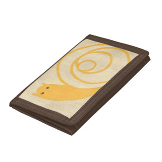 Yellow Snail on Cream Background Trifold Wallet