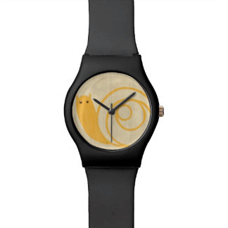 Yellow Snail on Cream Background Watch