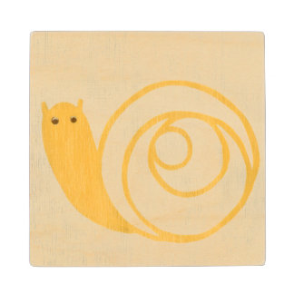 Yellow Snail on Cream Background Wood Coaster