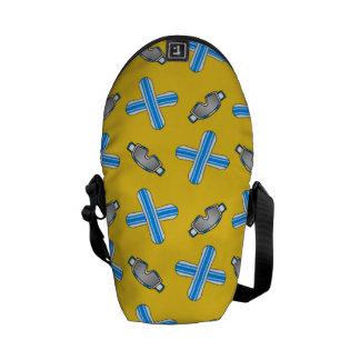 yellow snowboard pattern messenger bags