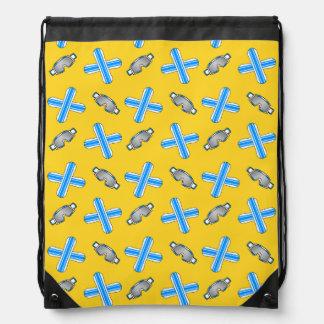 Yellow snowboard pattern drawstring backpacks