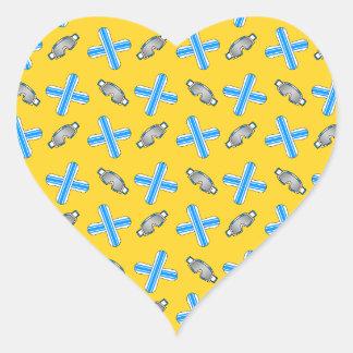 yellow snowboard pattern heart sticker