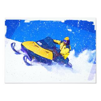 Yellow Snowmobile in Blizzard 13 Cm X 18 Cm Invitation Card