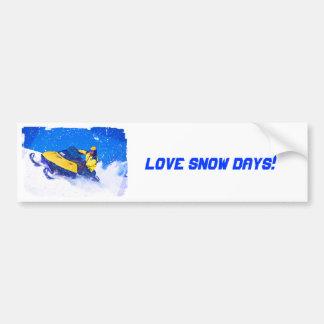 Yellow Snowmobile in Blizzard Bumper Stickers