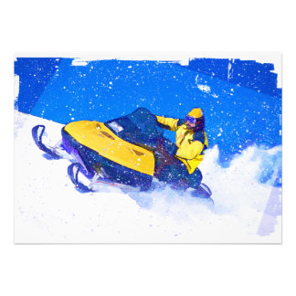 Yellow Snowmobile in Blizzard Custom Announcements