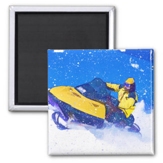 Yellow Snowmobile in Blizzard Square Magnet