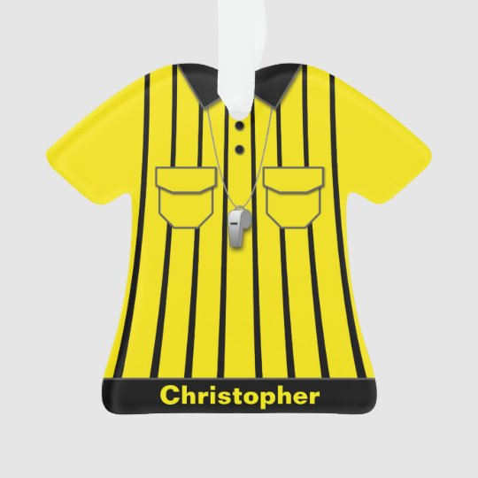 Yellow Soccer Referee Uniform Personalised Ornament