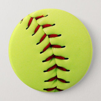 Yellow softball ball 10 cm round badge