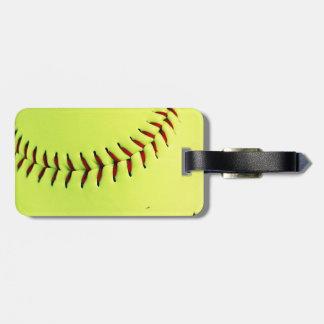 Yellow softball ball bag tag