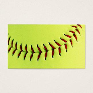 Yellow softball ball business card