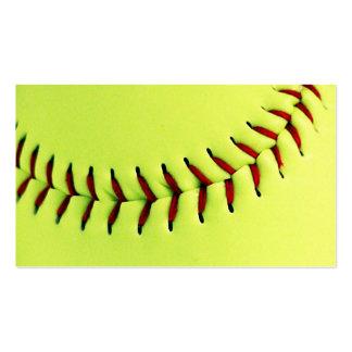 Yellow softball ball business card template
