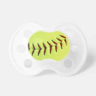 Yellow softball ball pacifiers