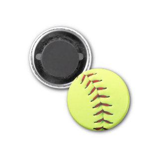 Yellow softball ball magnet