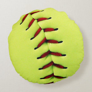 Yellow softball ball round cushion