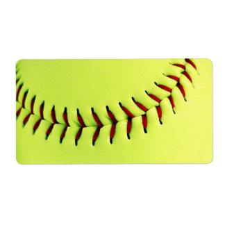 Yellow softball ball shipping label