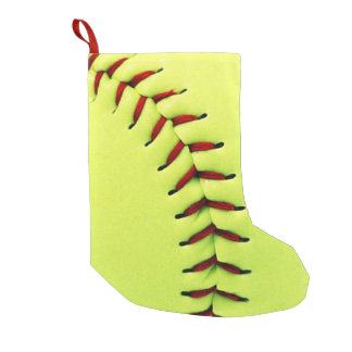 Yellow softball ball small christmas stocking