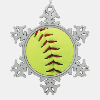 Yellow softball ball snowflake pewter christmas ornament
