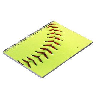 Yellow softball ball spiral notebook